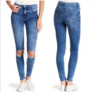 FreePeople High Rise Busted Knee Skinny Ankle Jean
